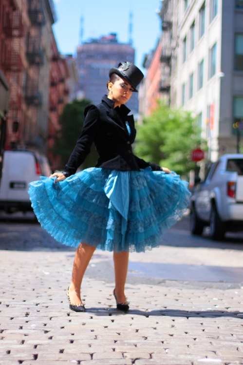 On the street... rocking the tulle & tophat